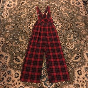 VTG Red and Black Buffalo Plaid Wide Leg Overalls